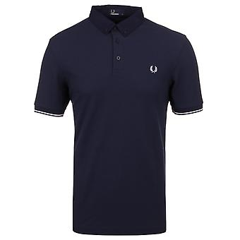 Fred Perry Carbon Blue Waffle Textured Short Sleeve Polo Shirt