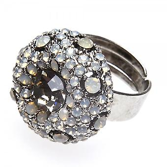 Camille  Womens Ladies Fashion Jewellery Silver And Smoked Black Adjustable Vintage Diamante Ring
