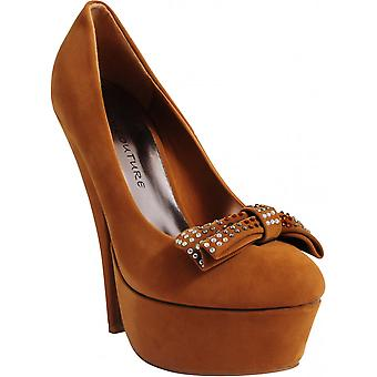 Koi Couture Ladies Cf2 Brown Suede High Heels