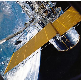 Hubble Telescope - Solar Array Deployment STS-31 Poster Print Giclee