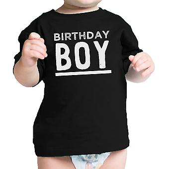 Birthday Boy T-Shirt Black Graphic Baby Tee Shirt Round Neck Cotton