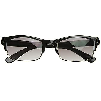 Thin Designer Inspired Half Frame Semi-Rimless Flat Top Sunglasses
