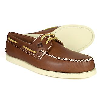 Sperry A/O Wedge Tan Leather Mens Boat Shoes STS13160