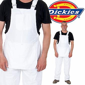 Dickies - Painters Bib and Brace - White Mens Work Overalls Work Dungarees