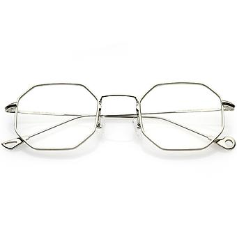 Premium Geometric Octagon Eyeglasses Ultra Slim Metal Clear Flat Lens 49mm