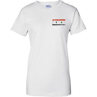 Efecto bandera de Siria Grunge país nombre - diseño de pecho de las señoras camiseta