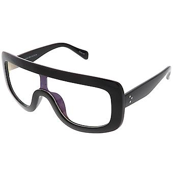 Oversize Bold Flat Top Rectangle Eyeglasse Wide Arms Clear Lens 65mm