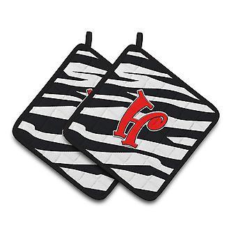 Monogram innledende H Zebra røde par grytekluter