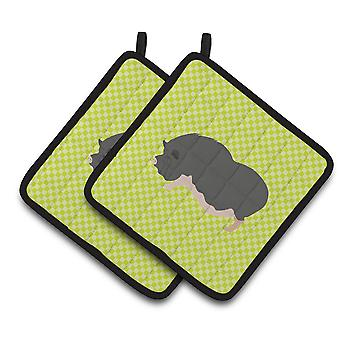Vietnamese Pot-Bellied Pig Green Pair of Pot Holders