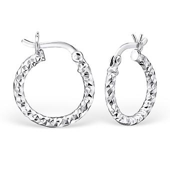 Round - 925 Sterling Silver Ear Hoops - W23907X