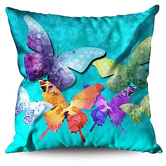 Colorful Butterfly Linen Cushion Colorful Butterfly | Wellcoda