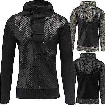 Men's knit sweater CURRENT sweater knit faux leather pullover Hooded Sweatshirt