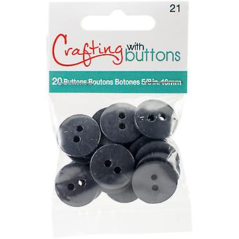 Small Color Buttons 20/Pkg-Charcoal 5/8
