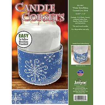 Candle Corsets Winter Snowflakes Plastic Canvas Kit-10.875