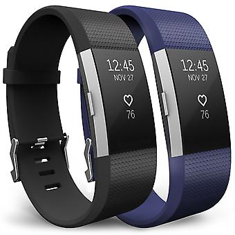 Yousave Fitbit Charge 2 Strap 2-Pack (Large) - Black/Blue