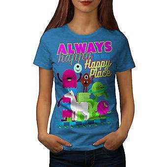 Always Happy Cute Women Royal BlueT-shirt | Wellcoda