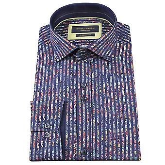 Guide London Bold Stripe Cotton Sateen Paisley Mens Shirt