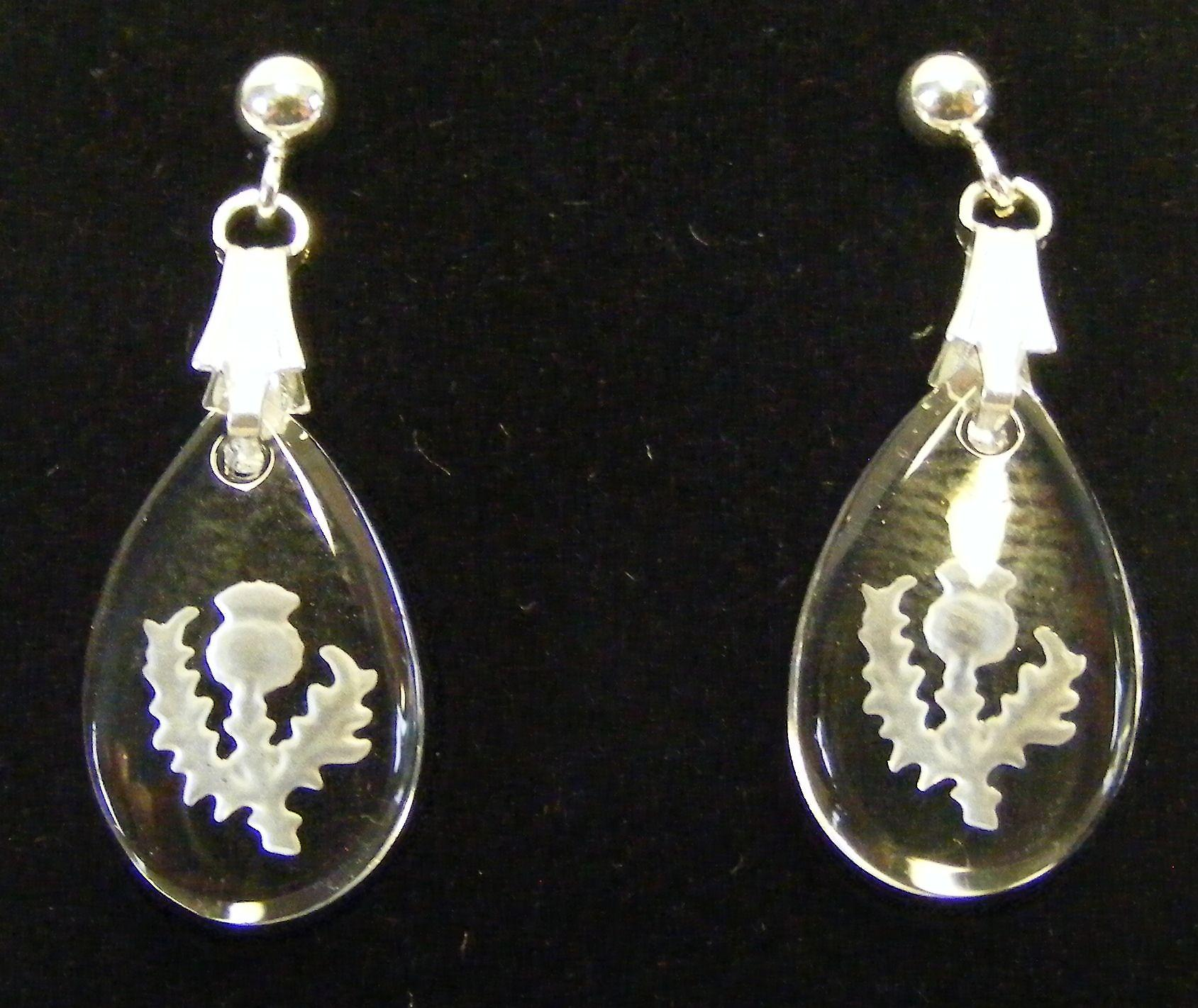 Frosted Thistle Teardrop Earrings