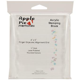 Apple Pie Memories Acrylic Stamp Block W/Grips & Grid-4
