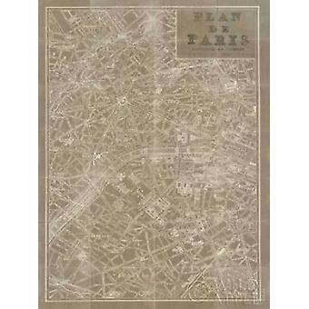 Blueprint Map Paris Taupe Poster Print by Sue Schlabach (22 x 28)