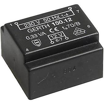 PCB mount transformer 1 x 230 V 2 x 12 V AC 0.35 VA 14 mA