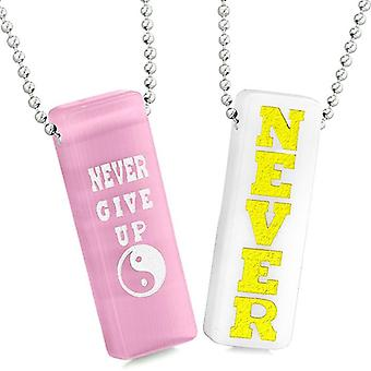 Never Give Up Tags Love Couples Yin Yang Amulets White Quartz Pink Simulated Cats Eye Necklaces