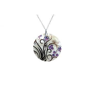 Gemshine Halskette Anhänger Medaillon Perlmutt FLOWERS 925 Silber Schwarz
