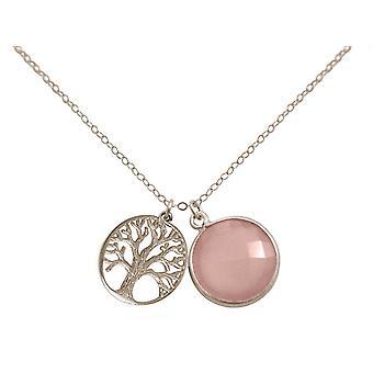 Gemshine - collana - ciondolo - albero della vita - argento 925 - onice - Rosa - 45cm