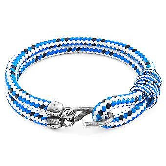 Anchor & Crew Blue Dash Great Yarmouth Silver and Rope Bracelet