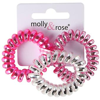 Molly & Rose Small Plastic Spiral Hair Bobble Pink & Silver 3 Pack