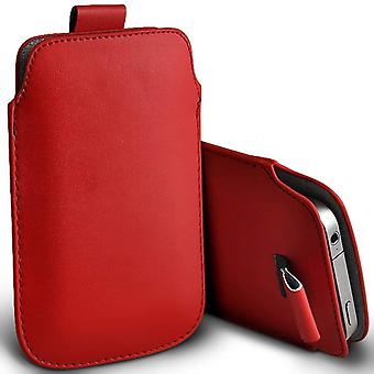 ONX3 (Red) Premium Slip In Pull Tab Sleeve Faux Leather Pouch Case Cover For Nokia 3.1 [XXL]