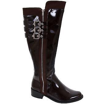 Ladies Patent Triple Buckle Strap Low Heel Women's Knee High Boots Shoes