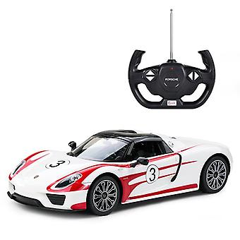 Licensed 1:14 Porsche 918 Spyder Weissach Remote Control Car White- RideonToys4u