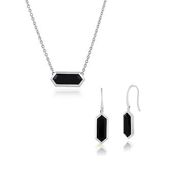 925 Sterling Silver Black Onyx Hexagonal Prism Drop Earring & 45cm Necklace Set