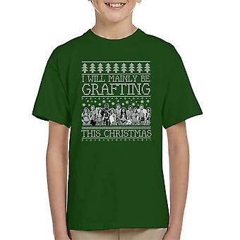 I Will Mainly Be Grafting This Christmas Love Island Christmas Knit Pattern Kid's T-Shirt