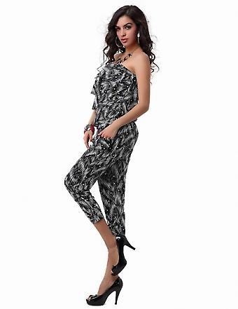 Waooh - Fashion - long light tight flying high pants suit with white stripes patterns