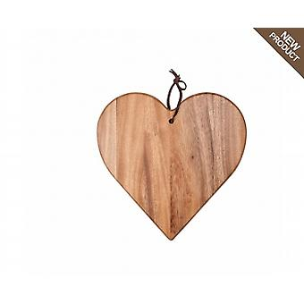 Tuscany Heart Board With Leather Tie In Acacia 10940
