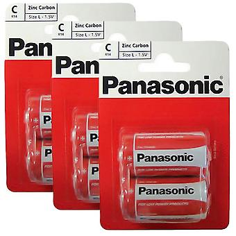 6 x Panasonic R14RZ-2BP C Size Batteries