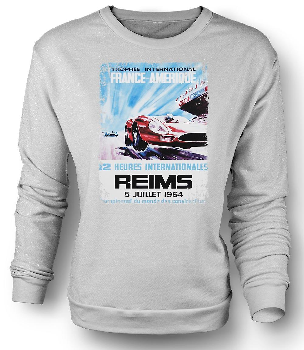 Mens Sweatshirt Reims Grand Prix 64 - Racing bil