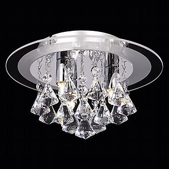 Endon RENNER-3CH 3 Light Semi Flush Chrome & Crystal Ceiling Light