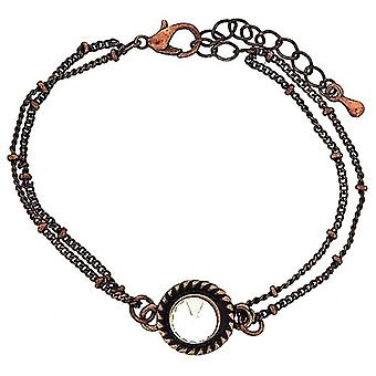 Mixology Rhinestone Set Charm Coppertone Double Chain Extendable Bracelet