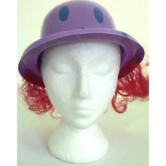 Plastic Clown Bowler Hat with attached Hair