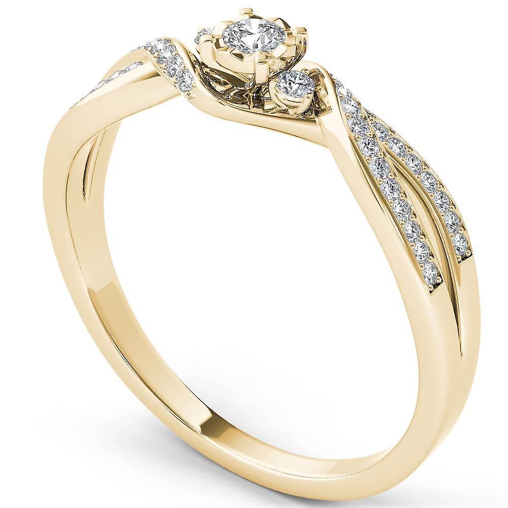 IGI Certified 14k jaune or 0.15Ct Round Diamond Three Stone Engagement Ring