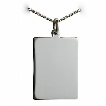 Silver 25x18mm plain rectangular Disc with a curb Chain 24 inches