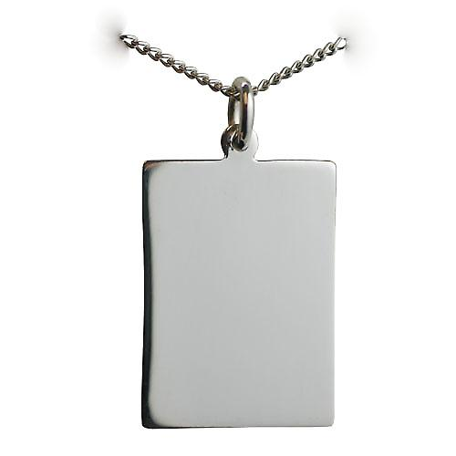 Silver 25x18mm plain rectangular Disc with a curb chain