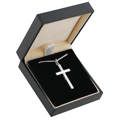 9ct White Gold 30x18mm line border block Cross with Spigal chain