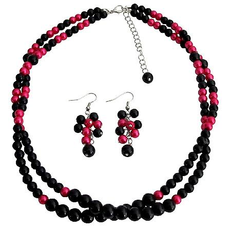 Twisted Double Strand Necklace Magenta And Black Pearls Bridesmaid Pink Black Jewelry Set