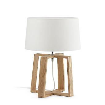 Faro - Bliss houten tafellamp met witte stof schaduw FARO28401