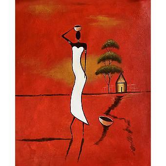 En romantisk kvinna i Afrika, oljemålning på duk, 50x60 cm