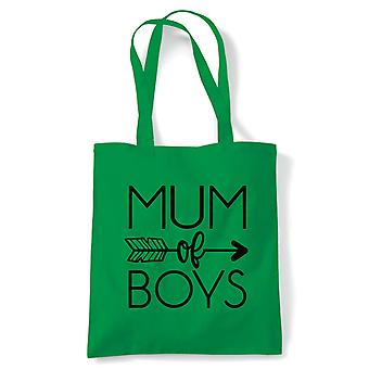 Mum of Boys Arrow Tote | Reusable Shopping Cotton Canvas Long Handled Natural Shopper Eco-Friendly Fashion | Gym Book Bag Birthday Present Gift Her | Multiple Colours Available